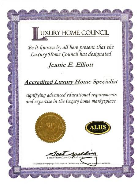 ALHS Certificate Awarded To Jeanie Elliott From Luxury Home Council