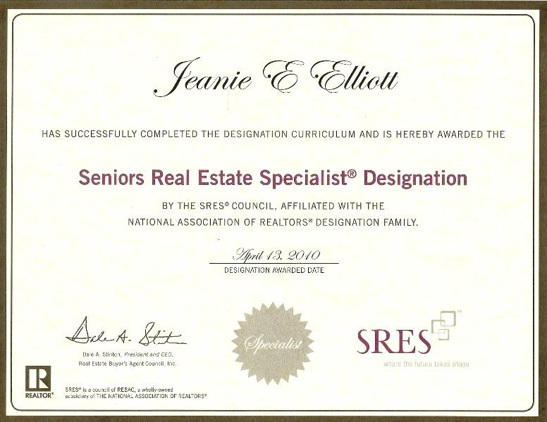 SRES Certificate Awarded To Jeanie Elliott By SRES Council