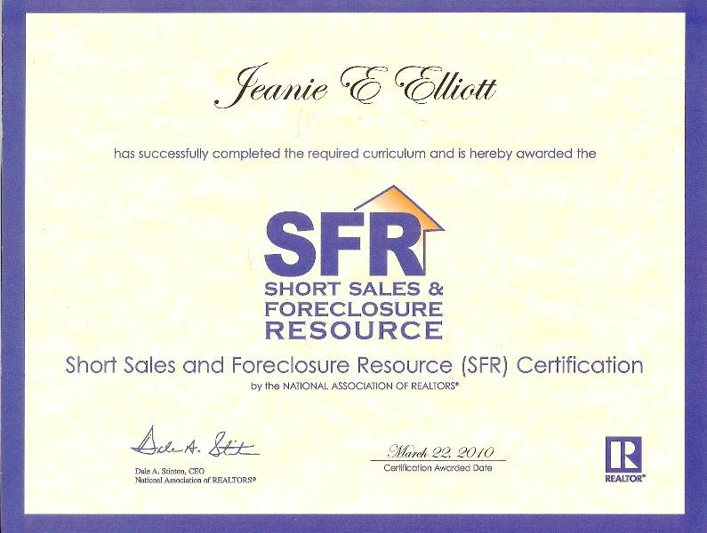 Sfr Short Sales And Foreclosures Resource Certified Sfr Realtor By